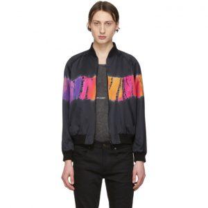 Saint Laurent Black Tie-Dye Bomber Jacket