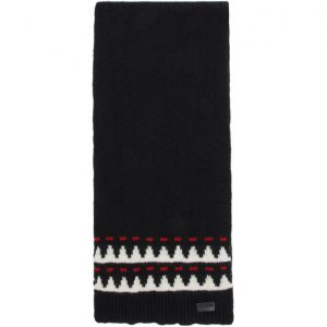 Saint Laurent Black Wool Jacquard Scarf