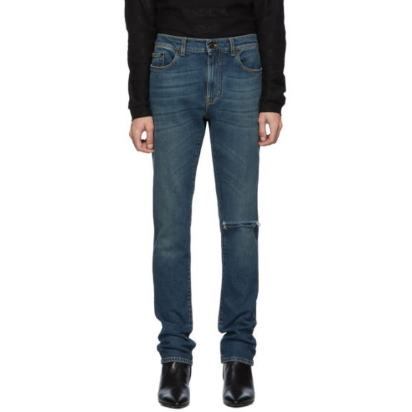 Saint Laurent Blue Vintage Skinny Low Waist Jeans