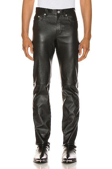 Saint Laurent Leather Pant in Black
