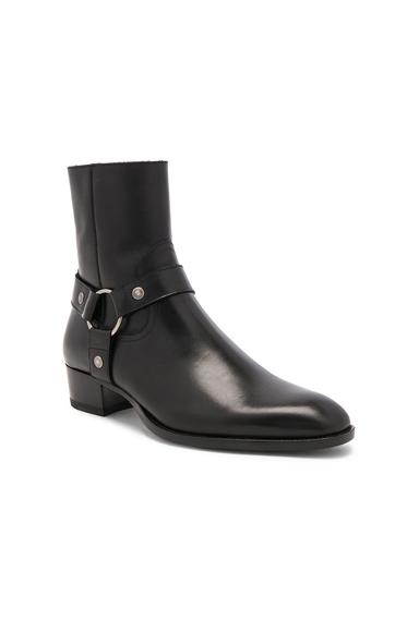 Saint Laurent Leather Wyatt Harness Boots in Black