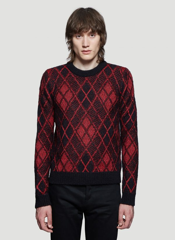 Saint Laurent Metallic Knit Sweater in Red size L
