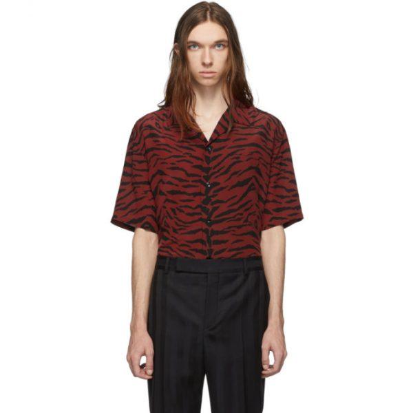 Saint Laurent Red and Black Zebra Silk Shark Collar Shirt
