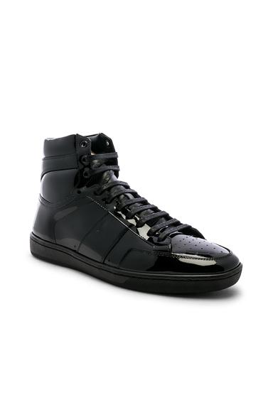 Saint Laurent Signature Court Classic SL/10H Leather Hi-Top Sneaker in Black