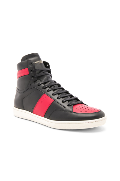 Saint Laurent Signature Court Classic SL/10H Leather High Top Sneakers in Black