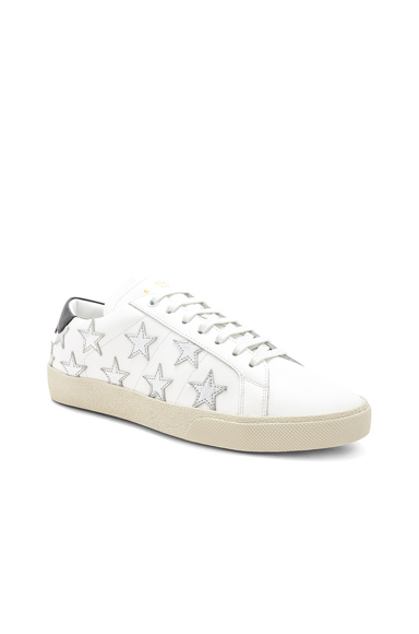 Saint Laurent Star Leather Low Top Sneakers in White