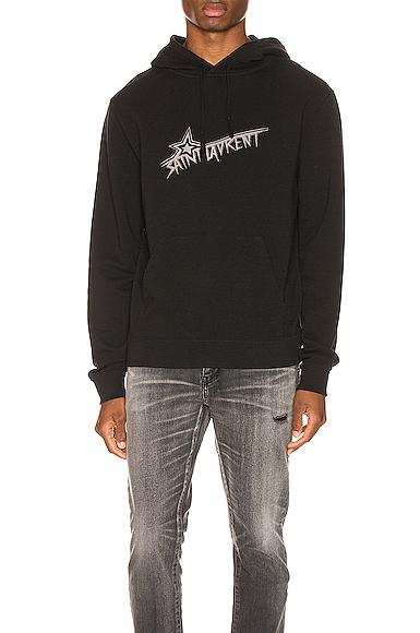 Saint Laurent Star Logo Hoodie in Black