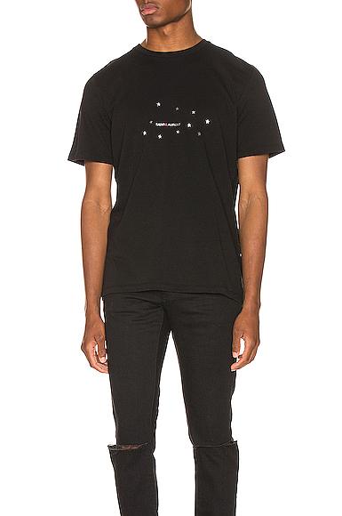 Saint Laurent Star Logo Tee in Black