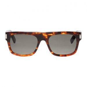 Saint Laurent Tortoiseshell and Black Rectangular Sunglasses