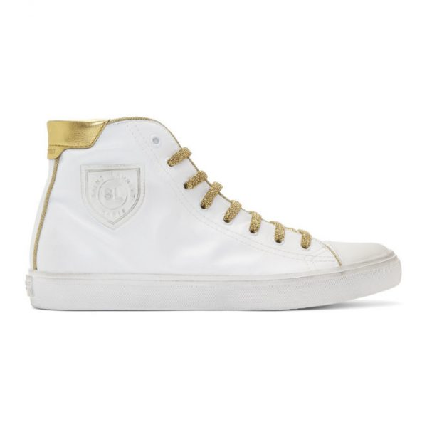 Saint Laurent White and Gold Used-Leather Bedford Sneakers