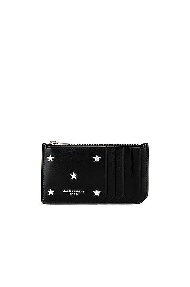 Saint Laurent Zipped Credit Card Case in Black,Stars