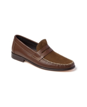 Sandro Moscoloni Whip Stitch Moc Toe Penny Strap Slip-On Men's Shoes