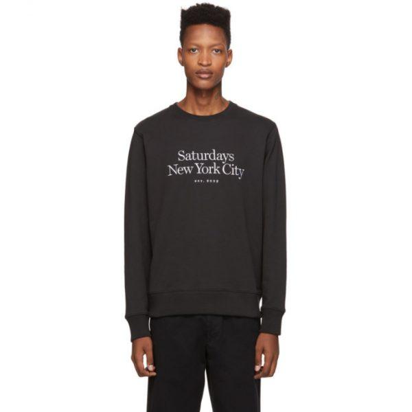 Saturdays NYC Black Bowery Miller Standard Sweatshirt