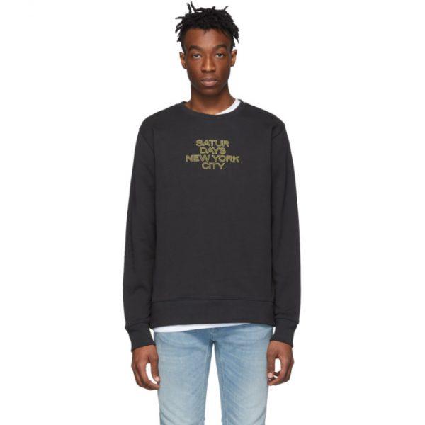 Saturdays NYC Black Outline Logo Sweatshirt