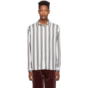 Saturdays NYC Black and White Jumbo Stripe Perry Shirt