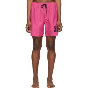 Saturdays NYC Pink Timothy Accordion Logo Swim Shorts