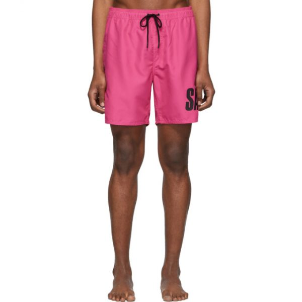 Saturdays NYC Pink Timothy Accordion Logo Swim Shorts