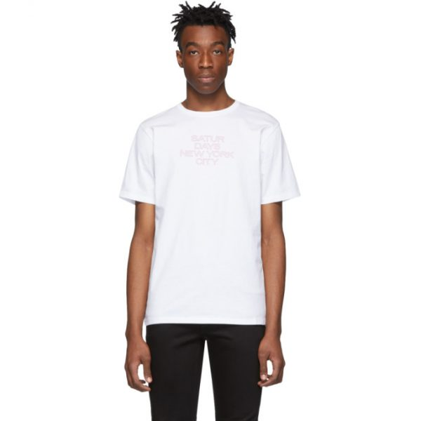 Saturdays NYC White Outline Logo T-Shirt