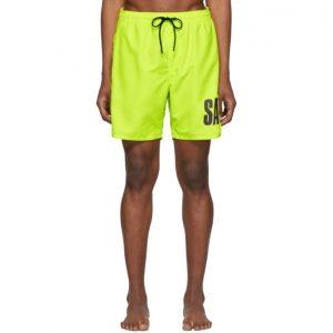 Saturdays NYC Yellow Timothy Accordion Logo Swim Shorts