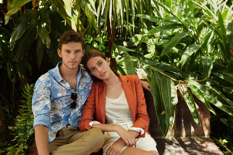 Picture-perfect, Daniel Schröder and Carmen Celli come together for Saville Row's spring-summer 2020 campaign.