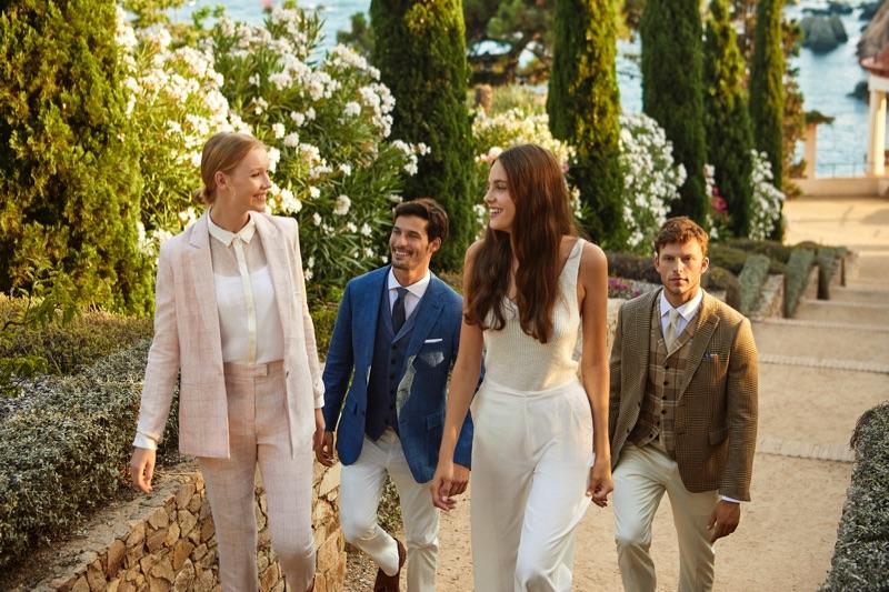 Okkie, Edu Roman, Carmen Celli, and Daniel Schröder appear in Saville Row's spring-summer 2020 campaign.