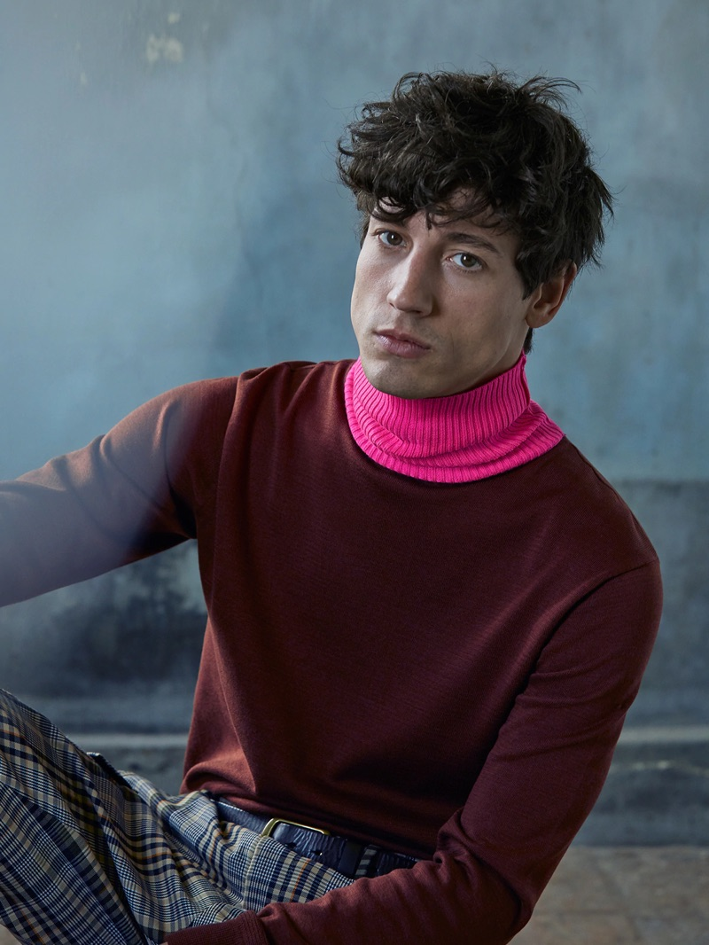 Embracing a bold pop of color, Nicolas Ripoll layers in a turtleneck from Scotch & Soda.