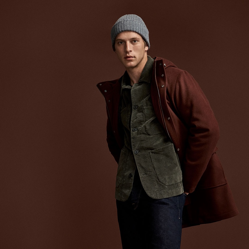 Model Jules Raynal embraces autumnal hues in Selected Homme's fall-winter 2019 outerwear collection.