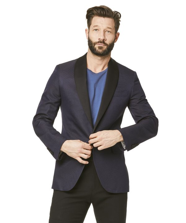 Silk Textured Jacquard Sutton Shawl Collar Diner Jacket in Navy Pindot