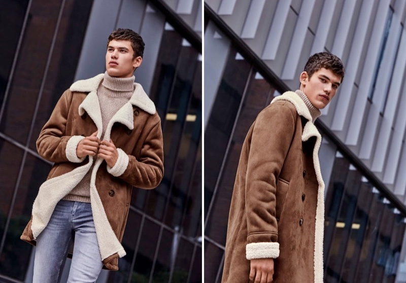 Embracing fall style, Finn Hayton models a brown shearling coat with a turtleneck sweater and distressed jeans from Simons.
