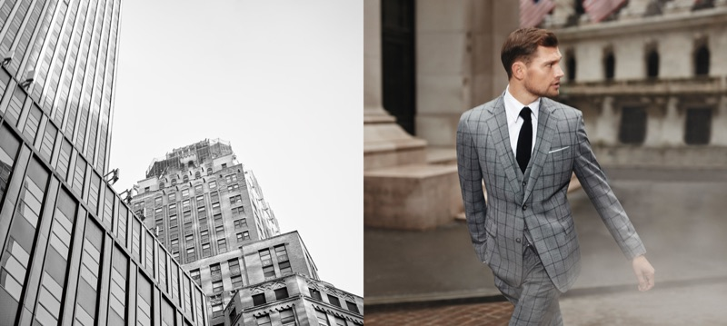 Donning a grey window pane suit, Stefan Pollmann appears in Strellson's fall-winter 2019 campaign.