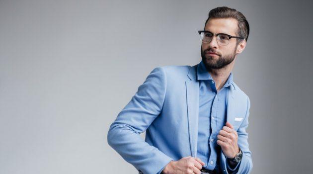 Stylish Male Model Blue Blazer Shirt Pants Glasses
