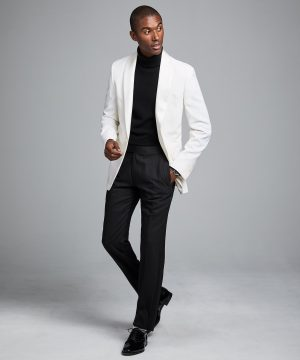 Sutton Shawl Collar Tuxedo Jacket in Ivory Italian Wool