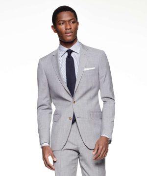 Sutton Suit Jacket in Italian Grey Windowpane Tropical Wool