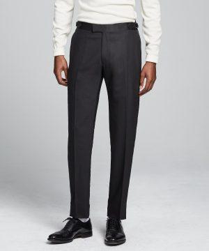 Sutton Tuxedo Pant in Black Italian Wool