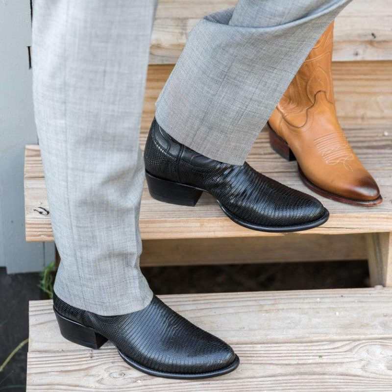 Tecovas The Nolan Black Leather Lizard Mens Boots
