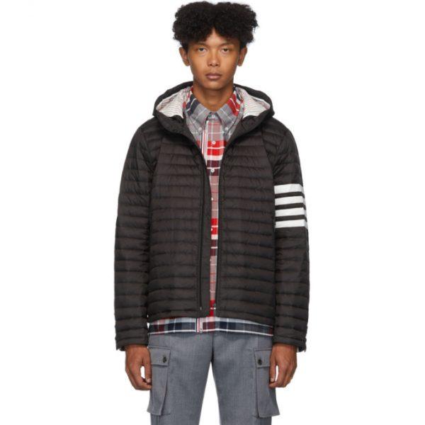 Thom Browne Black Down 4-Bar Quilted Hooded Jacket