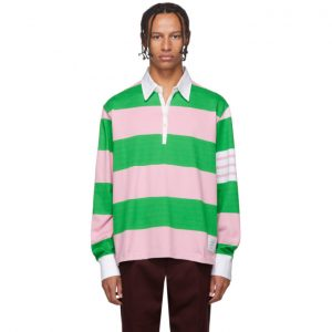 Thom Browne Green and Pink 4-Bar Oversized Long Sleeve Polo