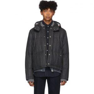 Thom Browne Grey Down Striped Bomber Jacket