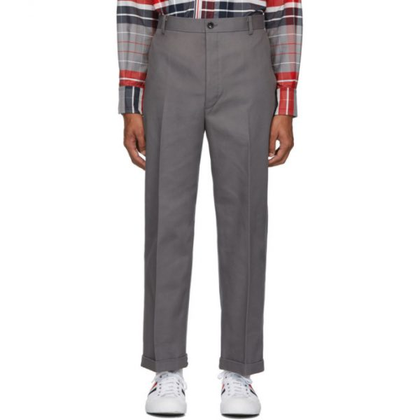 Thom Browne Grey Twill Cavalry Chino Trousers