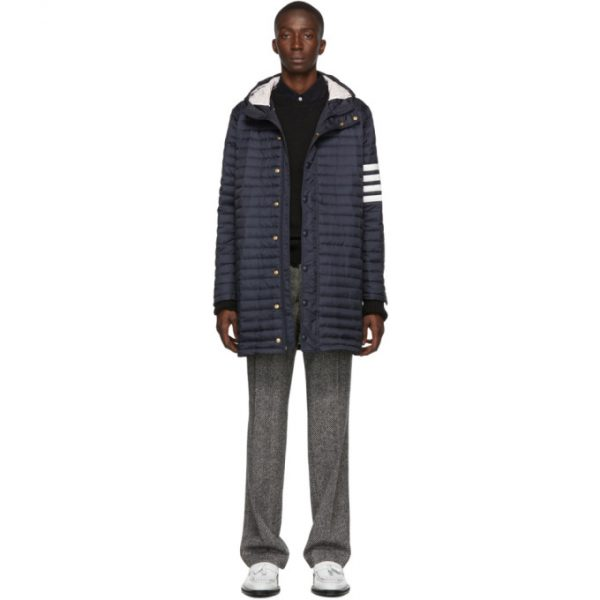 Thom Browne Navy Down 4-Bar Quilted Hooded Coat