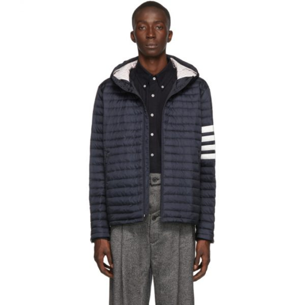 Thom Browne Navy Down 4-Bar Quilted Hooded Jacket
