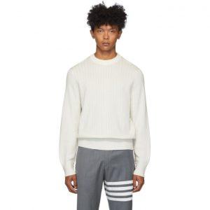 Thom Browne Off-White Variegated Rib Airmail Sweater