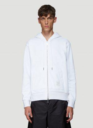 Thom Browne Rear Striped Hooded Sweatshirt in White size JPN - 1