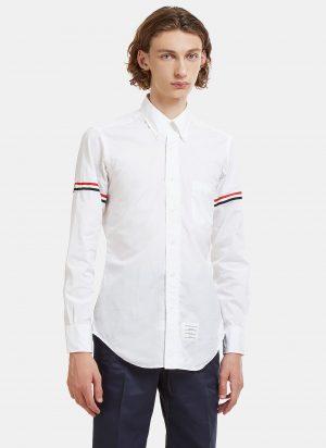 Thom Browne Striped Web Armband Creased Poplin Shirt in White size 1-JPN