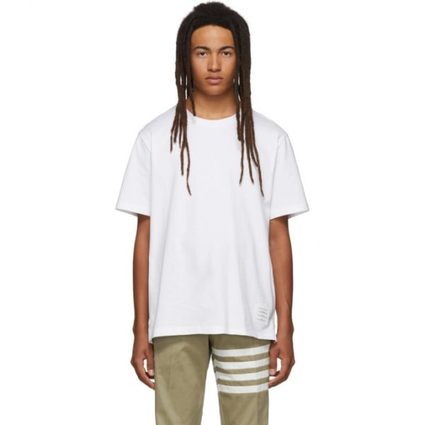 Thom Browne White Side Slit Relaxed Fit T-Shirt