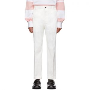 Thom Browne White Twill Chino Trousers