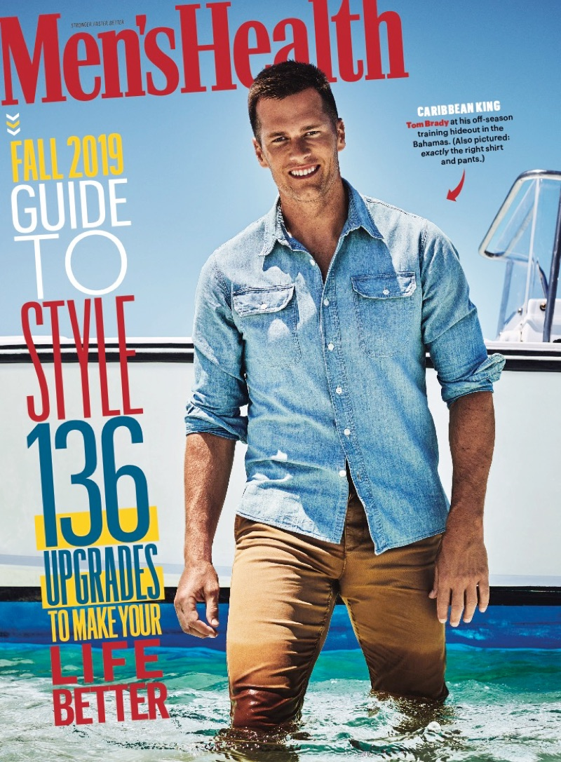 Sporting a denim shirt and khaki pants, Tom Brady covers the September 2019 issue of Men's Health.