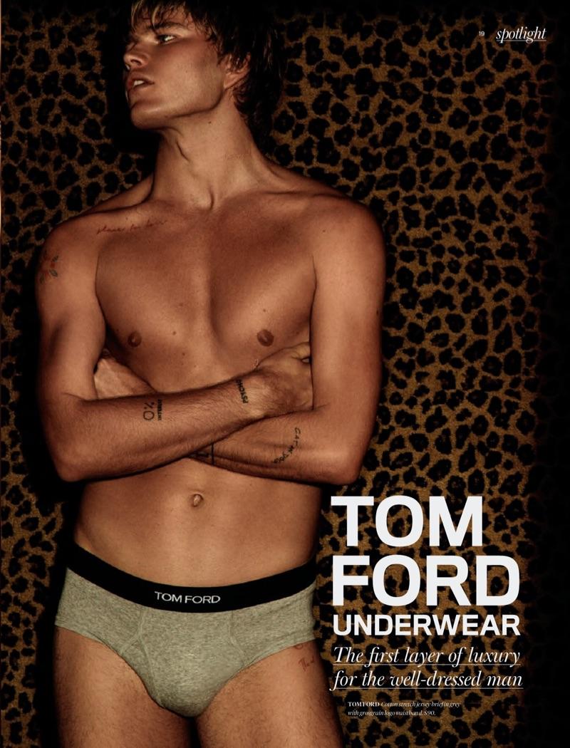 Shirtless Jordan Barrett wears grey Tom Ford underwear briefs for Holt Renfrew.