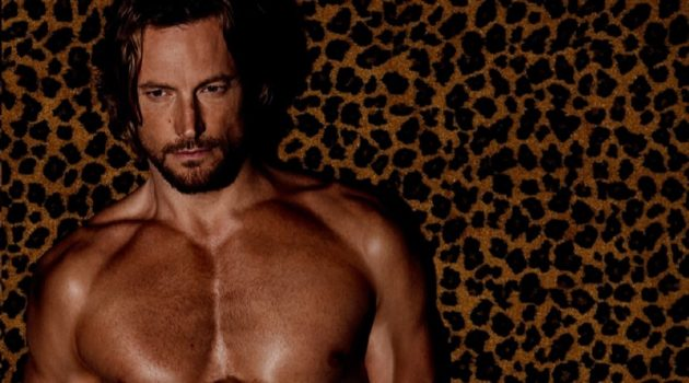 Gabriel Aubry rocks leopard print underwear by Tom Ford.