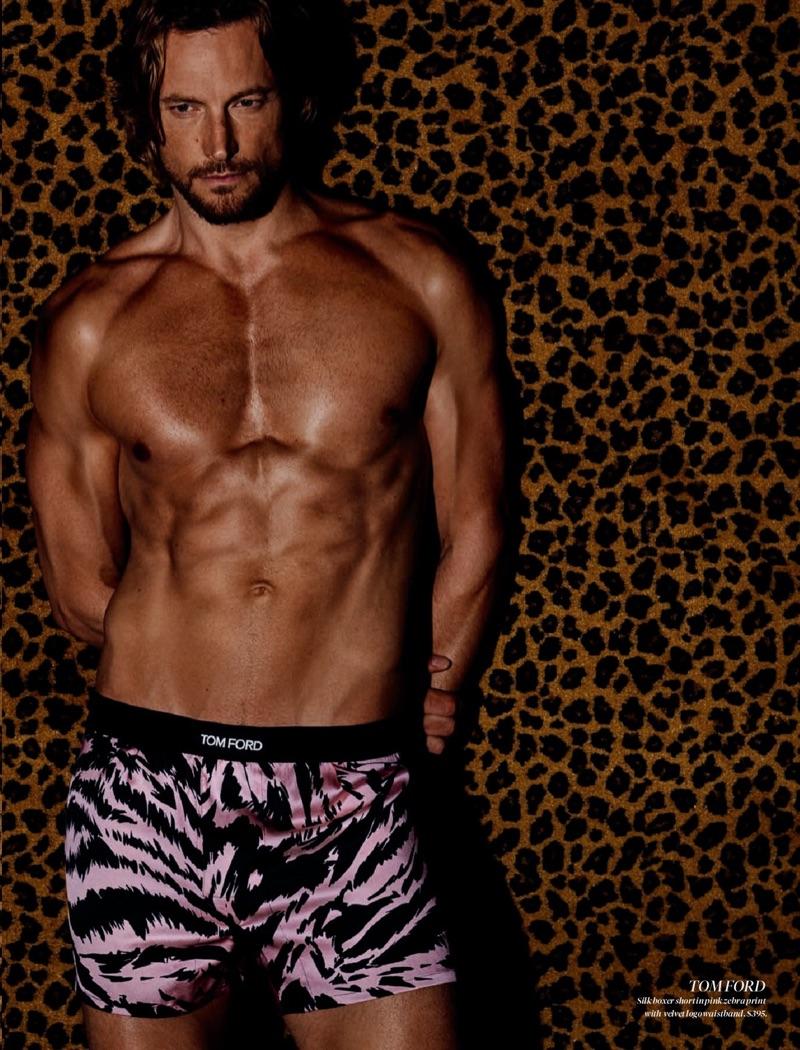 Shirtless Gabriel Aubry rocks leopard print underwear by Tom Ford.